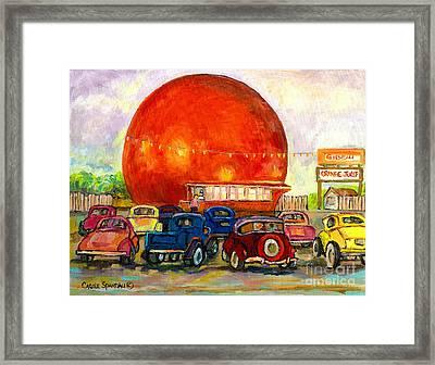 Orange Julep With Antique Cars Framed Print by Carole Spandau