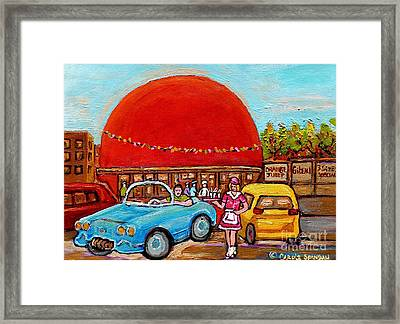 Orange Julep With Girl On Rollerblades Paintings Of Montreal Landmarks Diner Carole Spandau Framed Print