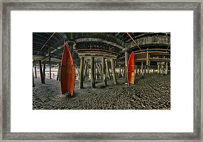 Orange Life Boats Under The Santa Monica Pier Framed Print by Scott Campbell