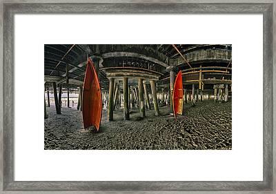Orange Life Boats Under The Santa Monica Pier Framed Print