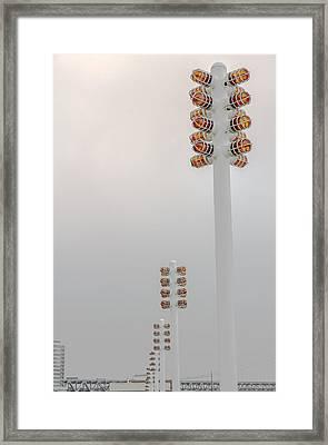 Orange Lights And Fog Framed Print by Studio Janney