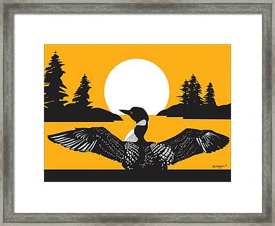 Orange Loon Framed Print