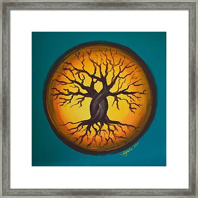 Framed Print featuring the painting Orange Moon by Agata Lindquist
