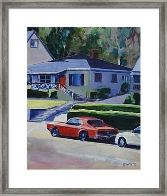 Orange Mustang Framed Print by Richard  Willson