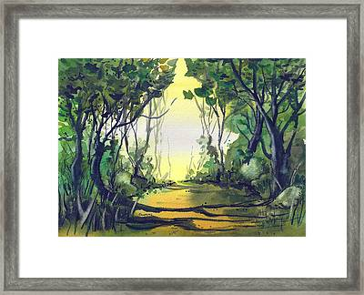 Framed Print featuring the painting Orange Path by Terry Banderas