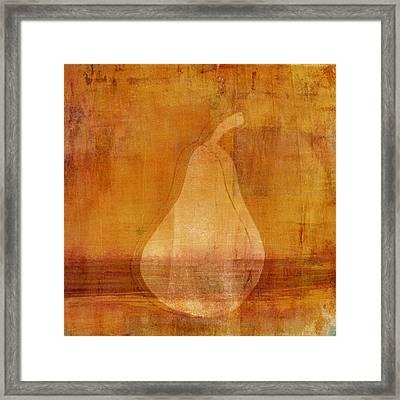 Orange Pear Monoprint Framed Print