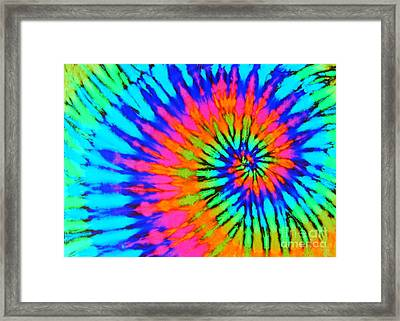 Orange Pink And Blue Tie Dye Spiral Framed Print by Catherine Sherman