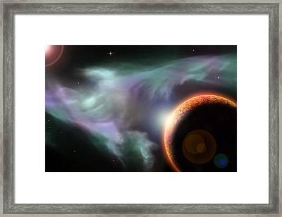 Orange Planet And Nebula Framed Print