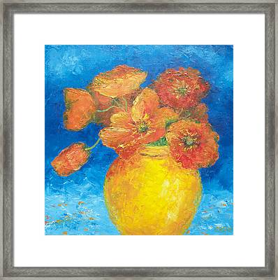 Orange Poppies In Yellow Vase Framed Print by Jan Matson