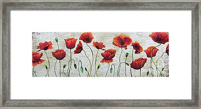 Orange Poppies Original Abstract Flower Painting By Megan Duncanson Framed Print by Megan Duncanson