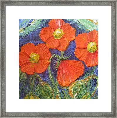 Orange Poppies Framed Print by Paris Wyatt Llanso