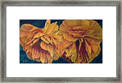 Framed Print featuring the painting Orange Poppies by Ron Richard Baviello