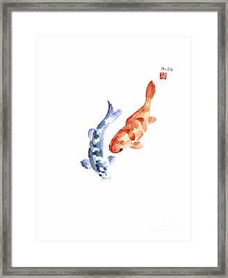 Orange Red Blue Fish Pisces Koi Carp Zodiac Ocean Animal World Water Colors Watercolors Painting Framed Print