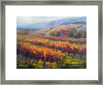 Orange Red Vines Framed Print by Carolyn Jarvis