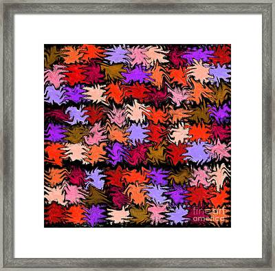 Orange Squiggle Quilt Abstract Framed Print