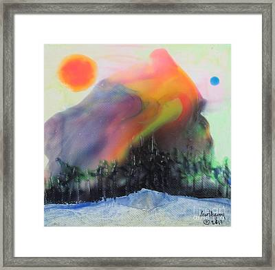 Orange Sun Blue Moon And Snow Framed Print