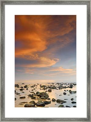Orange Sunset At The Rocks Framed Print by Guido Montanes Castillo