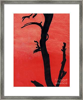 Framed Print featuring the drawing Orange Sunset Silhouette Tree by D Hackett
