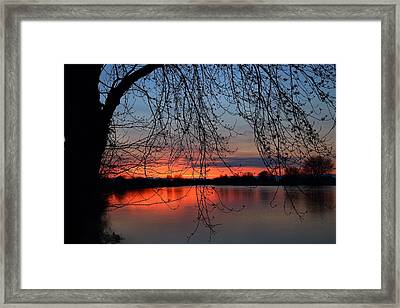 Framed Print featuring the photograph Orange Sunset by Lynn Hopwood