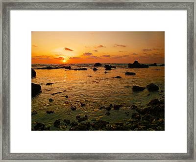 Framed Print featuring the photograph Orange Sunset by Meir Ezrachi