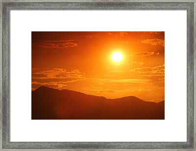 Framed Print featuring the photograph Orange Sunset Over Mountains by Tracie Kaska