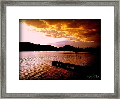 Framed Print featuring the photograph Orange Sunset Skaha Lake by Guy Hoffman