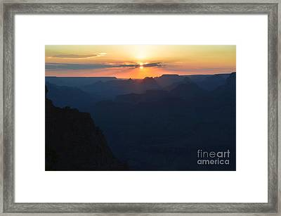 Orange Sunset Twilight Over Silhouetted Spires In Grand Canyon National Park Diffuse Glow Framed Print by Shawn O'Brien
