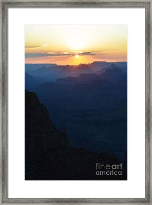 Orange Sunset Twilight Over Silhouetted Spires In Grand Canyon National Park Diffuse Glow Vertical Framed Print by Shawn O'Brien