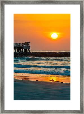Orange Sunshine At Jetty Park Framed Print by Cliff C Morris Jr
