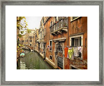 Orange Towel Venice Canal Framed Print