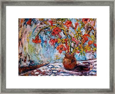 Orange Trumpet Flowers Framed Print
