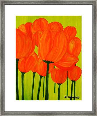 Orange Tulip Pops Framed Print by Celeste Manning