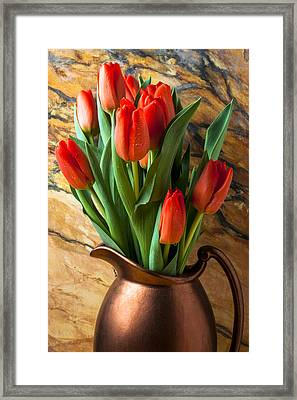 Orange Tulips In Copper Pitcher Framed Print by Garry Gay