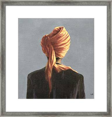 Orange Turban, 2004 Acrylic On Canvas Framed Print by Lincoln Seligman