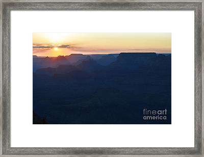 Orange Twilight Sunset Over Silhouetted Spires In Grand Canyon National Park Diffuse Glow Framed Print by Shawn O'Brien