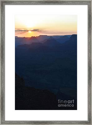Orange Twilight Sunset Over Silhouetted Spires In Grand Canyon National Park Diffuse Glow Vertical Framed Print by Shawn O'Brien