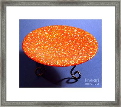 Orange Yellow And White Murrini Bowl With Stand Framed Print by P Russell
