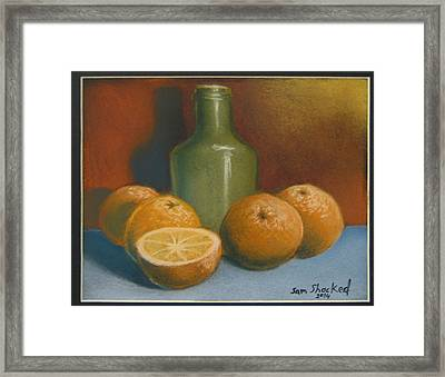 Oranges And A Wine Jug Framed Print by Sam Shacked