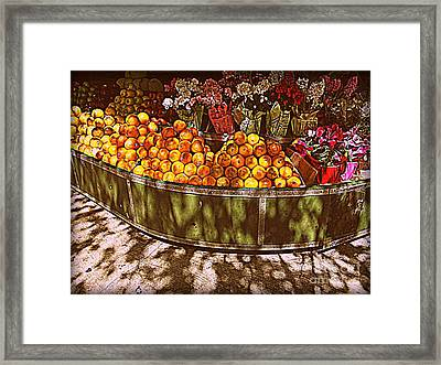 Oranges And Flowers Framed Print by Miriam Danar