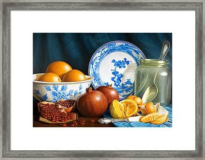 Oranges And Pomegranates Framed Print by Horacio Cardozo