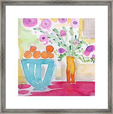 Oranges In Blue Bowl- Watercolor Painting Framed Print by Linda Woods