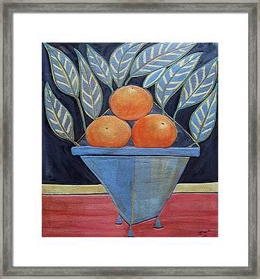 Oranges In Vase Framed Print