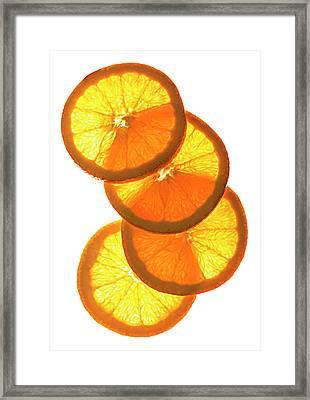 Oranges On White Framed Print by Jack Andersen