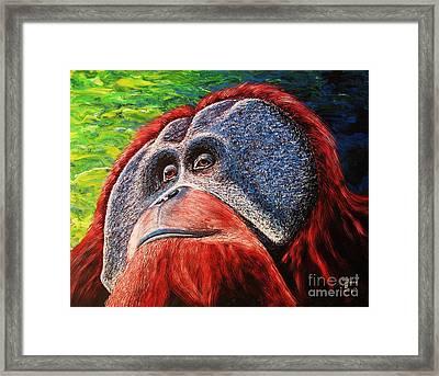 Framed Print featuring the painting Orangutan by Viktor Lazarev