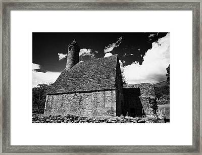 Oratory Known As St Kevins Kitchen At Glendalough Monastic Site Framed Print