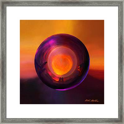 Orbing An Evening Sunset Framed Print