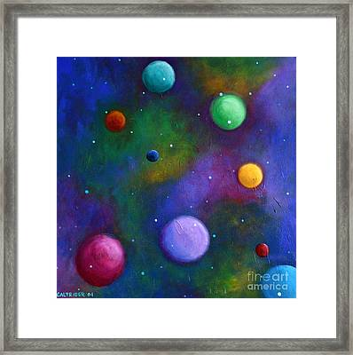 Framed Print featuring the painting Orbs In Space by Alison Caltrider