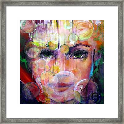 Framed Print featuring the painting Orbs by Jodie Marie Anne Richardson Traugott          aka jm-ART