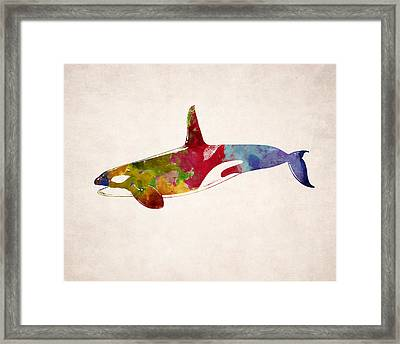 Orca - Killer Whale Drawing Framed Print by World Art Prints And Designs
