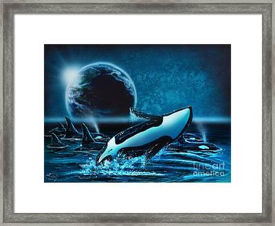 Orcas At Night Framed Print